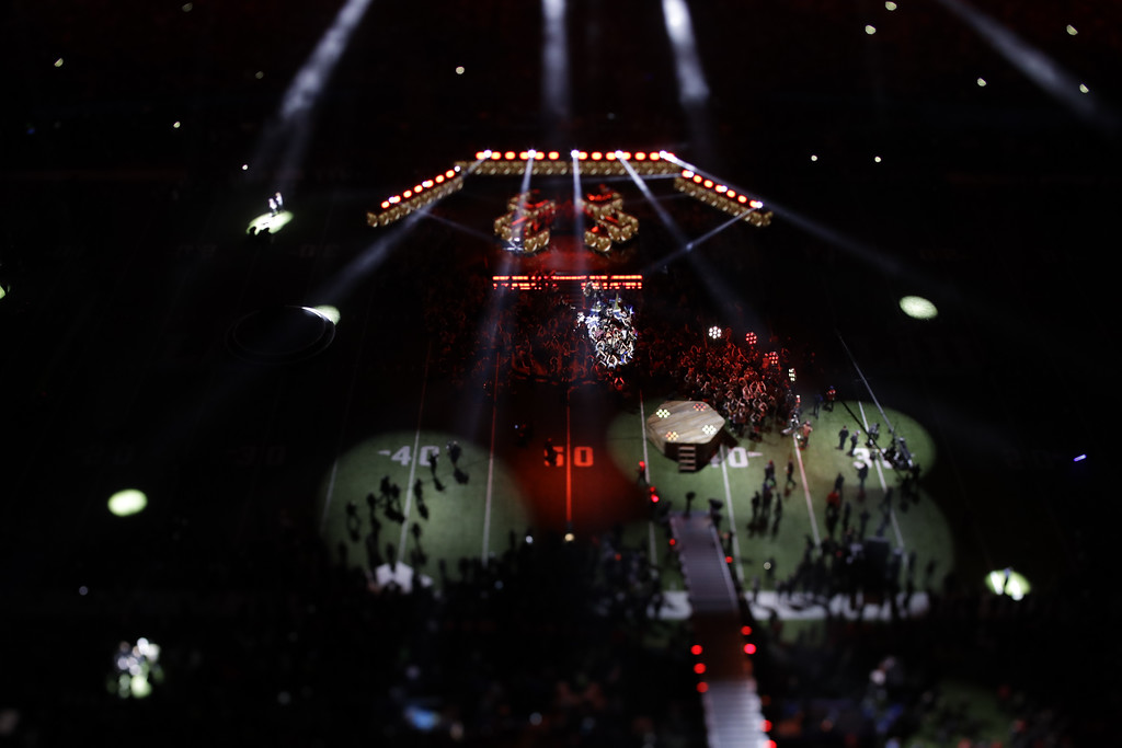 . In this picture made with a specialty lens Justin Timberlake performs during halftime of the NFL Super Bowl 52 football game Sunday, Feb. 4, 2018, in Minneapolis. (AP Photo/Matt Slocum)