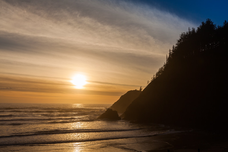 Sunset on the Shores of Ecola State Park