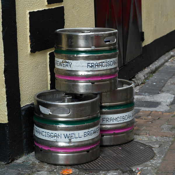 Stainless steel beer barrel keg on the street, Galway City, County Galway, Ireland