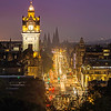 Balmoral and Princes Street Just after Sunset