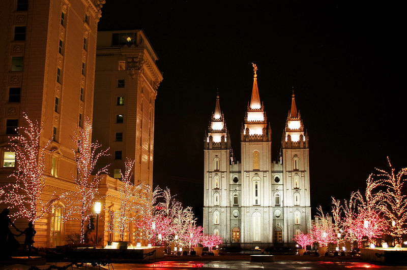 12/26 - The temple is on the right and the Joseph Smith movie was shown in the building to the left. The building is called the Joseph Smith Memorial Building. Originally it was the Hotel Utah.