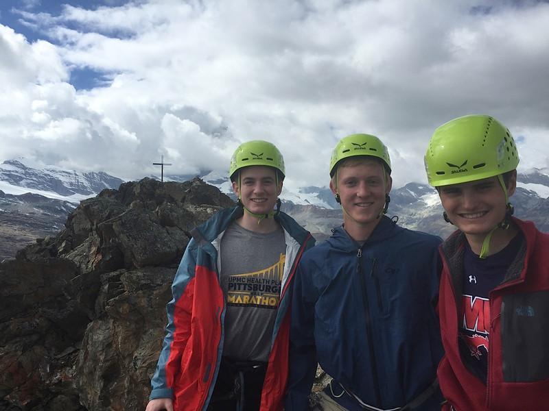 Henry, John, and Matthew after climbing Egge on Riffelhorn