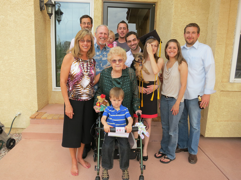 L-R - Sitting: Brayden; Front row: Pam, her mom, Kelly, Lindsay and her husband, Kyle. Back: Eric, Dick, Bristolyn, Jason and Beto (Kelly's spouse).  .. Brayden and Bristolyn belong to Lindsay and Kyle - and they're expecting twins in January '13.