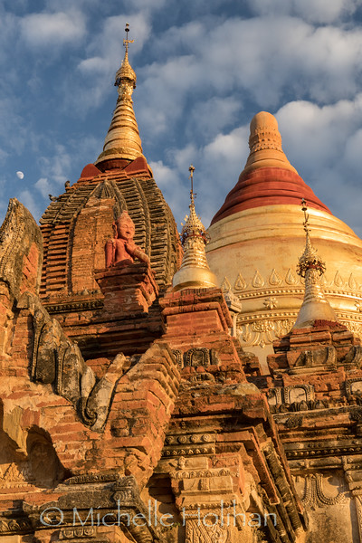 Domes and statues of Dhammayazaka Pagoda at sunset, Bagan, Myanmar
