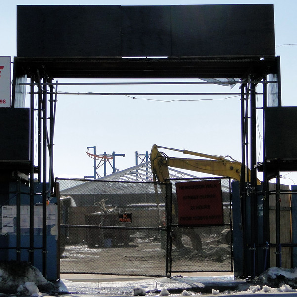 2-6-11 - looking through the site of the former Henderson - Sitt's tent frames and the rising Volare coaster in the background