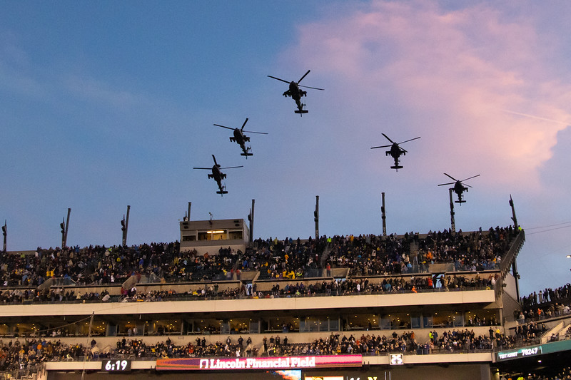 The weather precluded a flyover before the game, but we were treated to two flyovers by Army AH-64 helicopters!