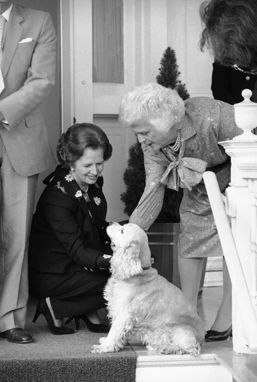 . British Prime Minister Margaret Thatcher pets Vice President Bush?s dog, Thursday, Sept. 29, 1983 at the Bush residence in Washington. Barbara Bush, wife of the Vice President looks on at right. (AP Photo/Dennis Cook)