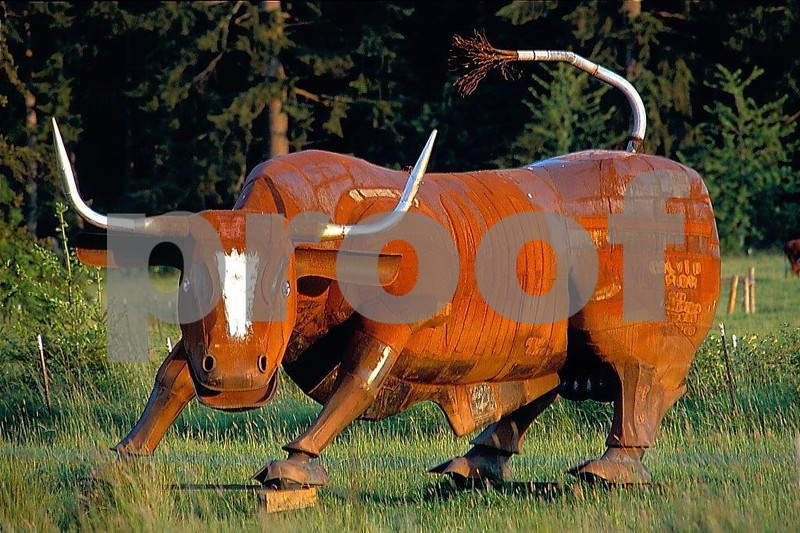 This metal sculpture helps Americans remember to recognize 'a lot of bull' when we hear it. WA