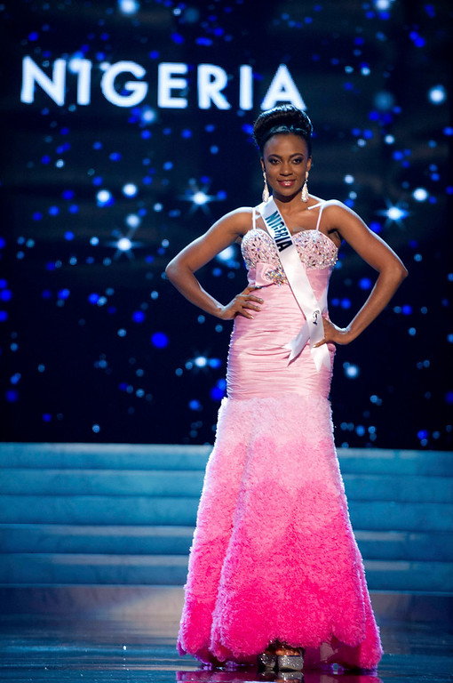 . Miss Nigeria 2012 Isabella Agbor Ojong Ayuk competes in an evening gown of her choice during the Evening Gown Competition of the 2012 Miss Universe Presentation Show in Las Vegas, Nevada, December 13, 2012. The Miss Universe 2012 pageant will be held on December 19 at the Planet Hollywood Resort and Casino in Las Vegas. REUTERS/Darren Decker/Miss Universe Organization L.P/Handout
