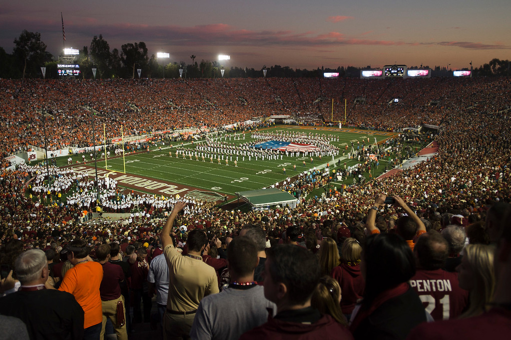 . Over 90,000 football fans filled up the stadium during the BCS National Championship game at the Rose Bowl in Pasadena Calif. on Monday, Jan. 6, 2014. (Watchara Phomicinda/ Pasadena Star-News)
