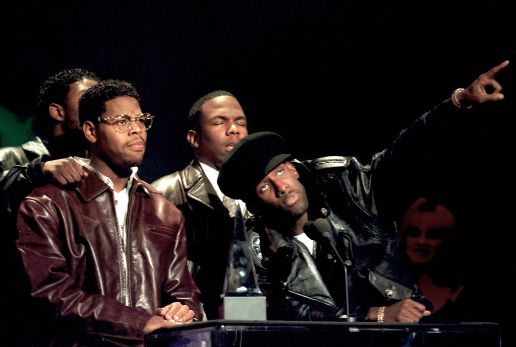 ". Members of the group Boyz II Men accept their award at the 22nd annual American Music Awards in Los Angeles, Ca., Monday, Jan. 30, 1995. The group\'s hit single ""I\'ll Make Love To You\"" won in the categories of pop-rock and soul-rhythm and blues. The group was also given an award as the favorite group in the soul-rhythm and blues category. The band members are, Michael McCary, Wanya Morris, Nate Morris and Shawn Stockman. (AP Photo/Reed Saxon)"