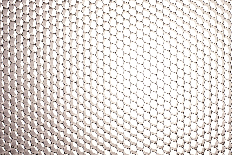 Honeycomb grid against white background