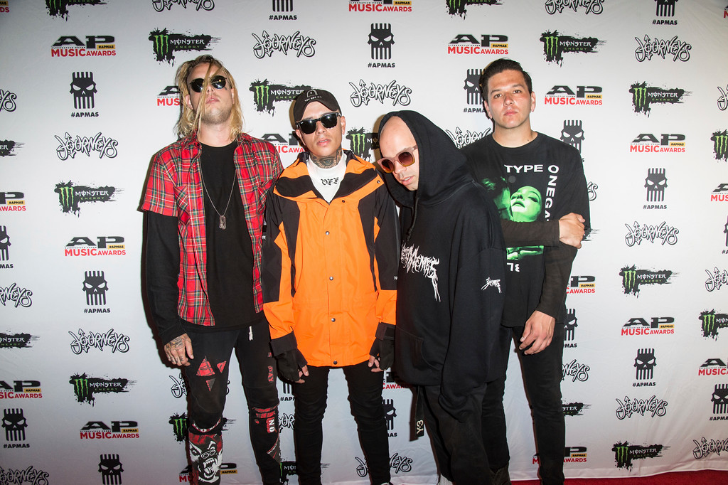 . Dustin Jennings, left, Jayden Panesso, Miguel Cardona and Travis Hufton of Sylar seen at 2017 Alternative Press Music Awards at the KeyBank State Theatre on Monday, July 17, 2017, in Cleveland. (Photo by Amy Harris/Invision/AP)