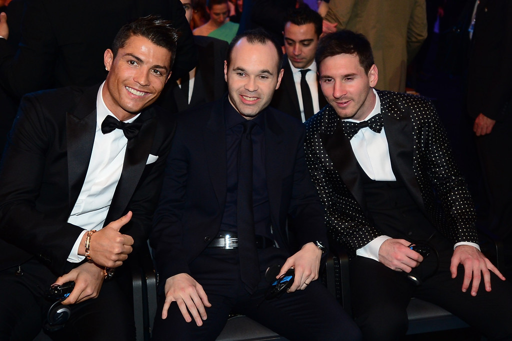. Ballon d\'Or finalists (L-R) Real Madrid\'s Portuguese forward Cristiano Ronaldo, Barcelona\'s Spanish midfielder Andres Iniesta and Barcelona\'s Argentinian forward Lionel Messi pose prior to the start of the FIFA Ballon d\'Or awards ceremony at the Kongresshaus in Zurich on January 7, 2013.    OLIVIER MORIN/AFP/Getty Images