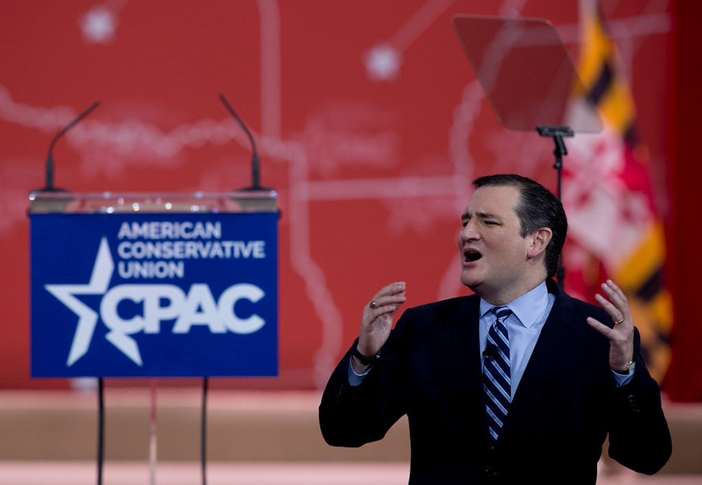 . Sen. Ted Cruz, R-Texas speaks during the Conservative Political Action Conference (CPAC) in National Harbor, Md., Thursday, Feb. 26, 2015. (AP Photo/Carolyn Kaster)