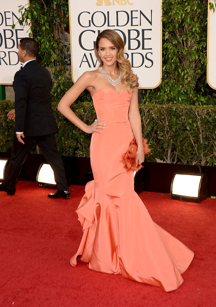 Description of . Actress Jessica Alba arrives at the 70th Annual Golden Globe Awards held at The Beverly Hilton Hotel on January 13, 2013 in Beverly Hills, California.  (Photo by Jason Merritt/Getty Images)