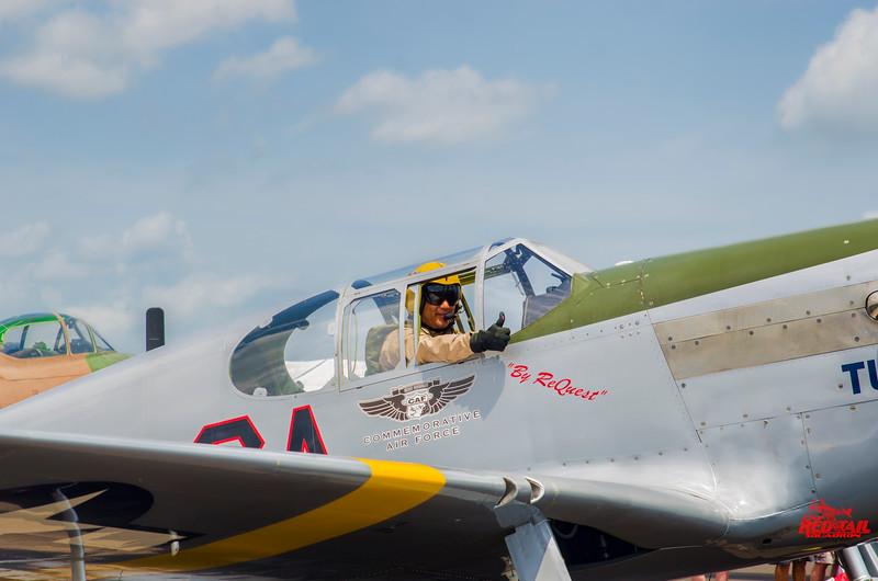 """Pilot Bill Shepard in """"Tuskegee Airmen"""" at Sun 'n Fun 2015."""