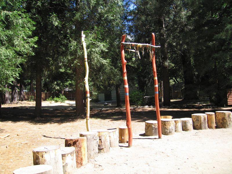 Dance circle, east.  Tongva Village reconstruction,  2 Jul 2005.
