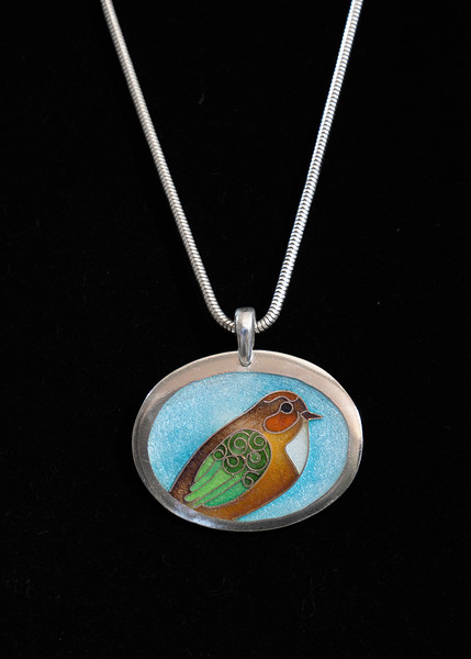 Fine Silver Champlevé and Cloisonné colorful fantasy bird. Pendant measures  1 1/4 inches long, 1 1/2  inches wide. Sterling silver bail. Supported on a 16 inch Sterling Silver snake chain. 195.00