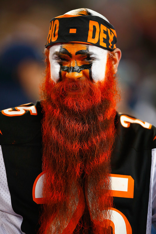 . A Cincinnati Bengals fan looks on before a game against the New England Patriots at Gillette Stadium on October 5, 2014 in Foxboro, Massachusetts.  (Photo by Jared Wickerham/Getty Images)