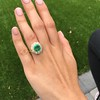 5.34ctw Emerald and Old Mine Cut Diamond Cluster Ring 5