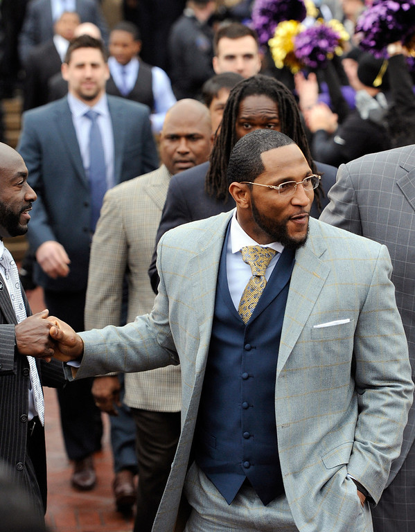. Baltimore Ravens linebacker Ray Lewis arrives at a send-off rally on Monday, Jan. 28, 2013 in Baltimore. The NFL football team is leaving for New Orleans to face the San Francisco 49ers in the Super Bowl. (AP Photo/Steve Ruark)