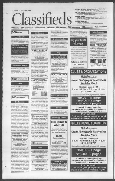Daily Trojan, Vol. 144, No. 32, October 12, 2001