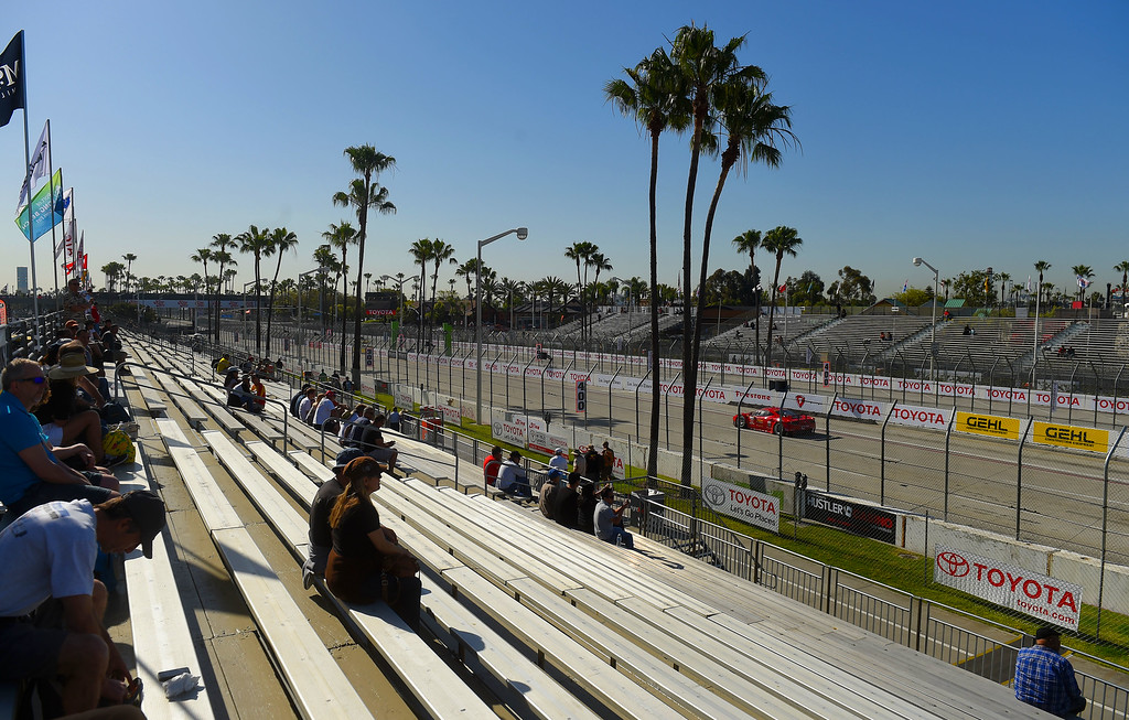 . Plenty of room in the grandstands #5 to watch morning practice in Long Beach, CA on Friday, April 17, 2015. The 40th annual Toyota Grand Prix of Long Beach kicked off with practices for all of the racing divisions. (Photo by Scott Varley, Daily Breeze)