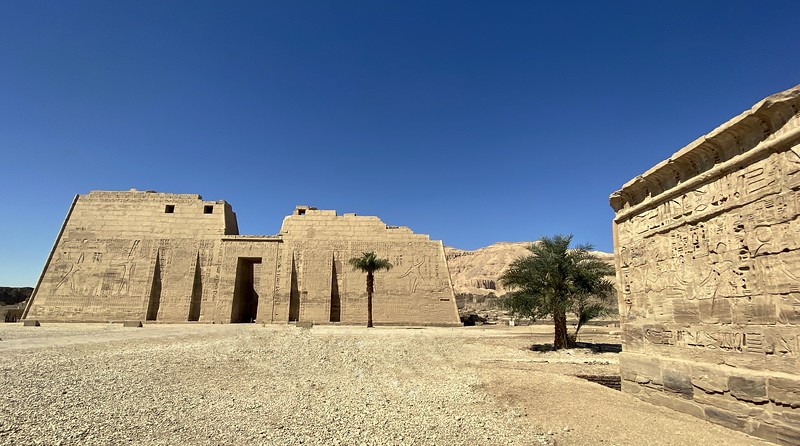 Medinet Habu is the mortuary temple of Ramses III. He reigned from 1186 -1155 BC.