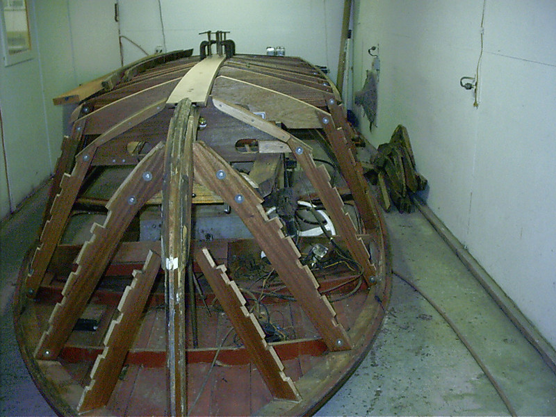 new keel in place, old chines removed ready to nstall new chines