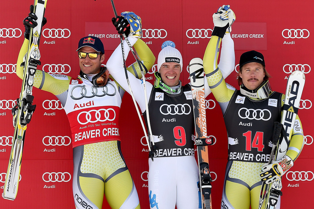 . Aksel Lund Swindal #14 of Norway, Christof Innerhofer #9 of Italy and Kjetil Jansrud #14 of Norway pose for photographers on the winer\'s podium during the men\'s downhill on the Birds of Prey at the Audi FIS World Cup on November 30, 2012 in Beaver Creek, Colorado.  (Photo by Matthew Stockman/Getty Images)