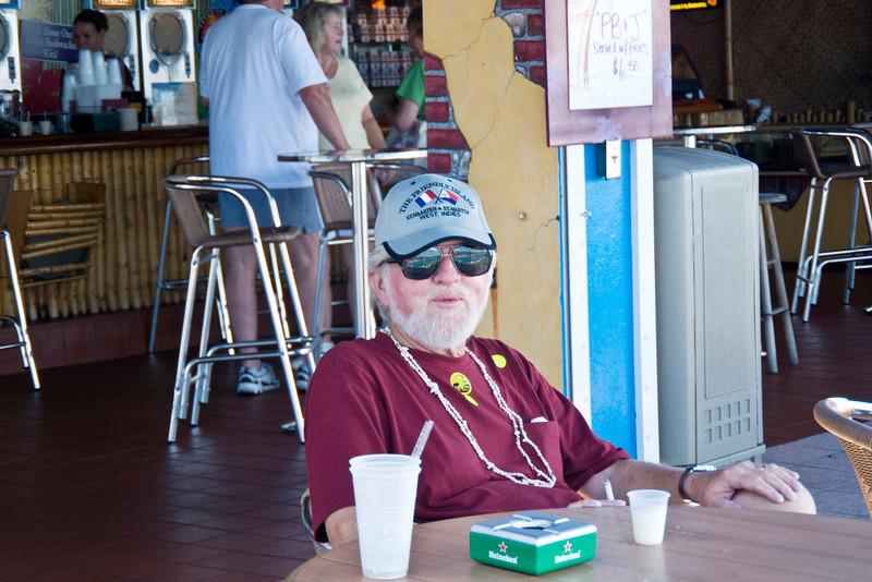 Frank enjoying the good life at Paradise Point overlook.  Free rum drinks - woo hoo