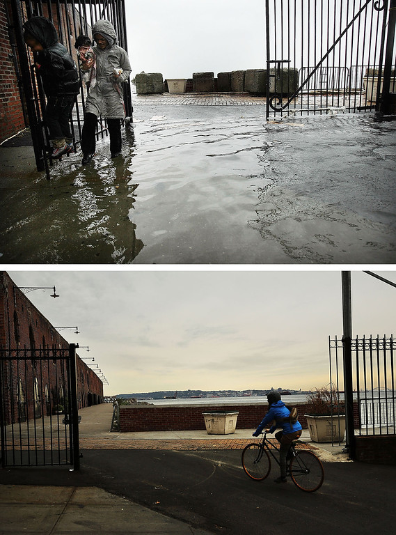 . NEW YORK, NY - OCTOBER 29:  (top) A woman and child walk through water on a flooded street as Hurricane Sandy moved closer to the area on October 29, 2012 in the Red Hook section of the Brooklyn borough of New York City. NEW YORK, NY - OCTOBER 23:  (bottom)  A person rides a bike October 23, 2013 in the Red Hook section of the Brooklyn borough of New York City. Hurricane Sandy made landfall on October 29 near Brigantine, New Jersey and affected 24 states from Florida to Maine and cost the country an estimated $65 billion.  (Photos by Spencer Platt/Getty Images)