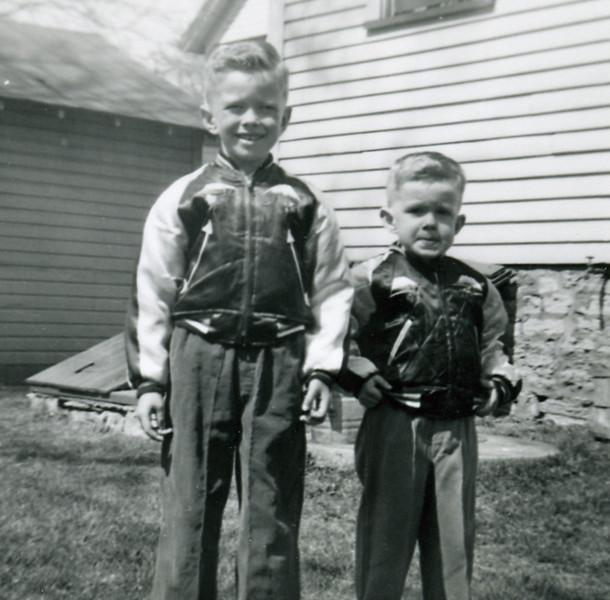 Circa: 1954, Jay & John in Thelma's backyard.