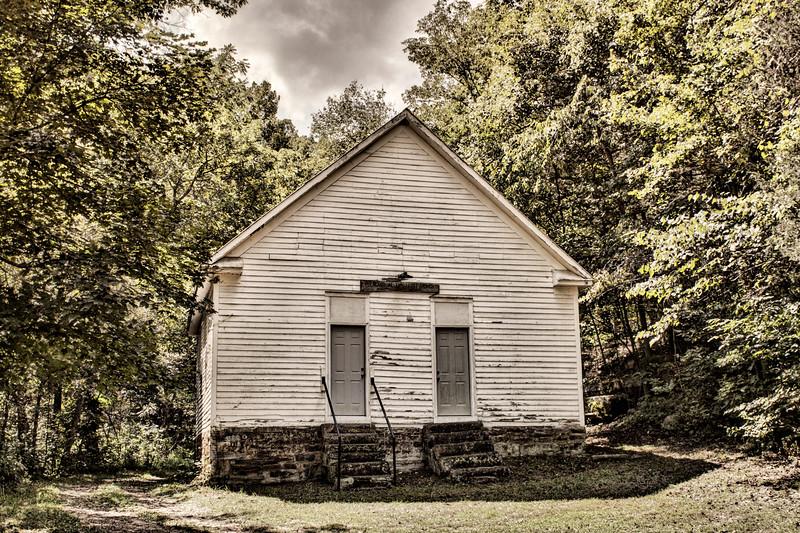 Roasting Ear Schoolhouse.  Aka Pleasant Valley Baptist Church, Onia, AR
