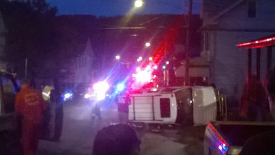 Overturned Vehicle, photo from Jay Applegate, SR902, Lansford (8-27-2014)