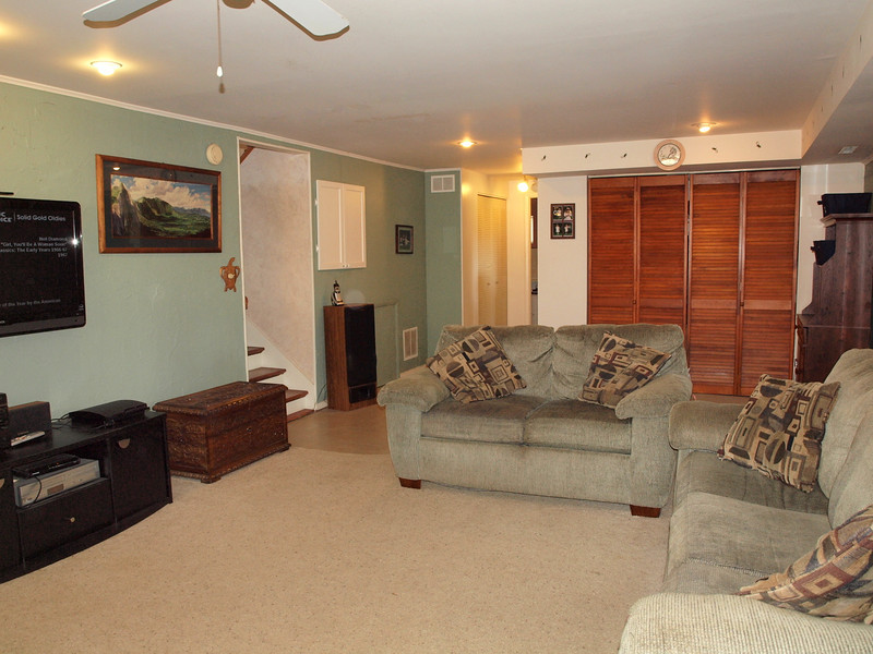 HUGE closet in family room with shelves AND hanging space - also wonderful, DEEP cabinet under stairs going to top level (white cabinet next to stairs.)