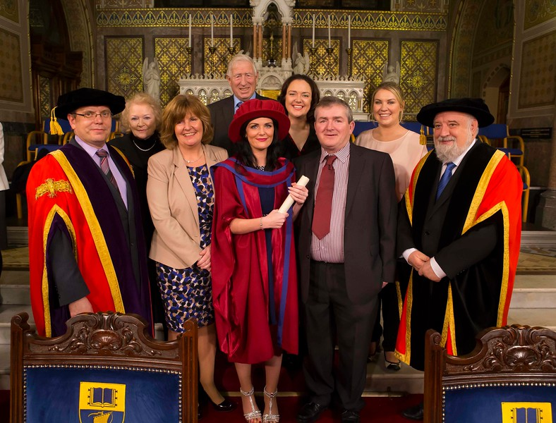 Waterford Institute Of Technology Conferring. Pictured at WIT Waterford Institute Of Technology Conferring is Gemma McCarthy, Waterford who was conferred a Doctor of Philosophy, also pictured is Dr. Ruaidhrí Neavyn, President, WIT and  Jack Walsh, Deputy Chairperson Govering body with Gemma, Laura, Linda Nuala, Eugene, Peter and Bernadette McCarthy. Picture: Patrick Browne