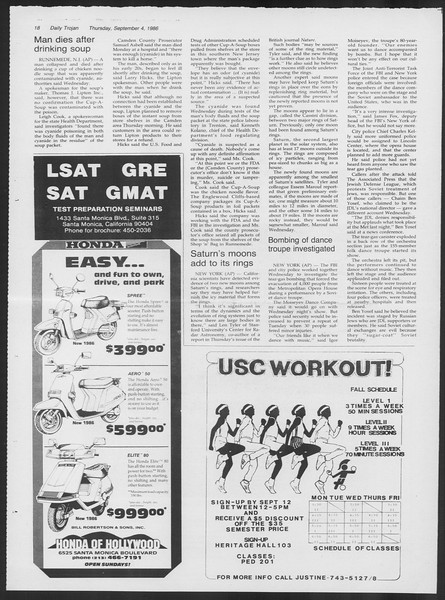 Daily Trojan, Vol. 102, No. 3, September 04, 1986