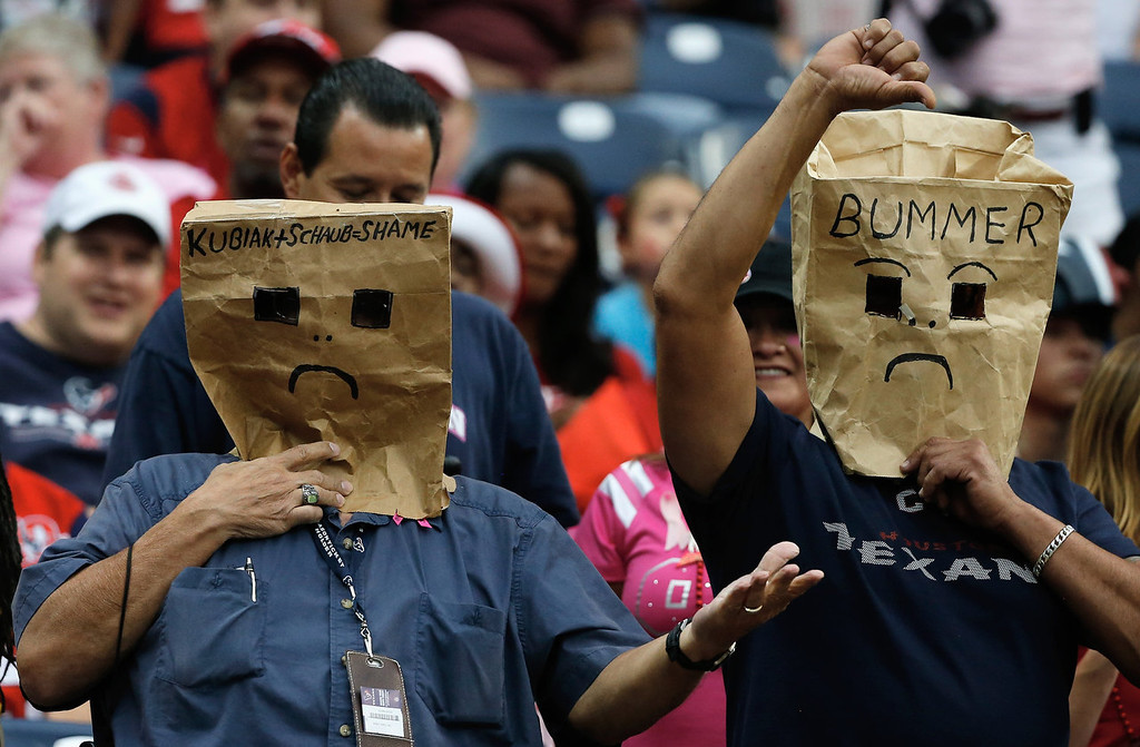 . Houston Texans fans show their displeasure  in the second half of the game against the St. Louis Rams at Reliant Stadium on October 13, 2013 in Houston, Texas.  (Photo by Scott Halleran/Getty Images)