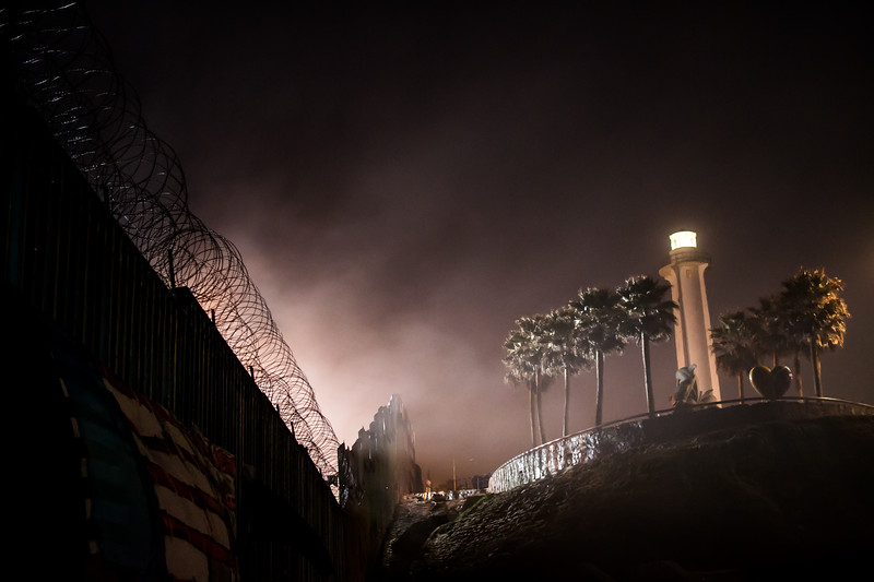 The wall at nighttime