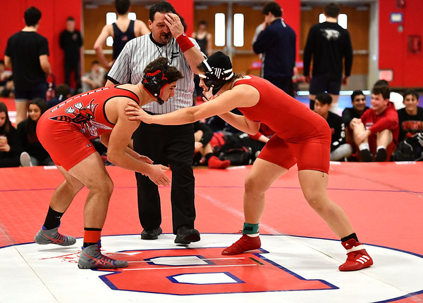 1/11/2020 Mike Orazzi | StaffrBerlin's Natalia Chorzepa and Branford's Justin Osler while wrestling Saturday at Berlin High School.