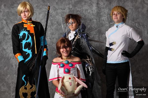 Sakura (Akira), Syaoran (Bekalou), Dragon Kurogane (Moses) and Tsubasa group (scholarboxer, chasertiff, reminiscensexxxx, yoi)
