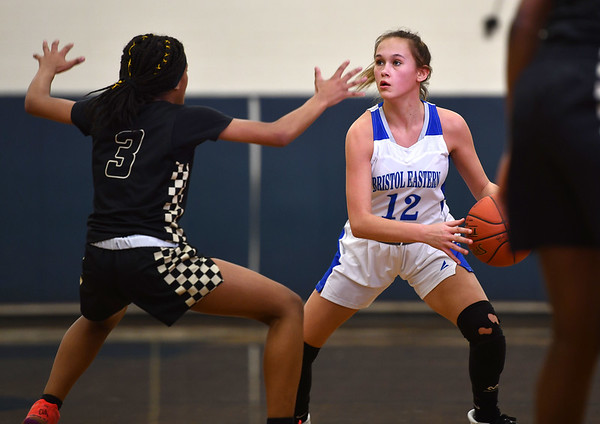 2/20/2020 Mike Orazzi | StaffrBristol Eastern's Cali Doyon (12) during Thursday night's CCC girls basketball game with East Hartford in Bristol.