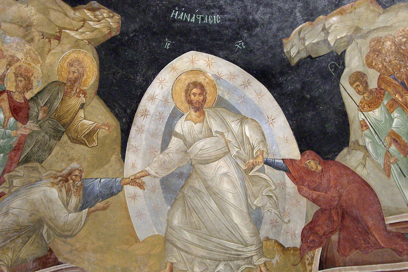 11-Kariye Museum: fresco of Anastasis (the Resurrection) in the parecclesion (side chapel) of the church. Christ has just broken down the gates of hell and is pulling Adam and Eve out of their tombs. Behind stand John the Baptist, David, and Solomon.