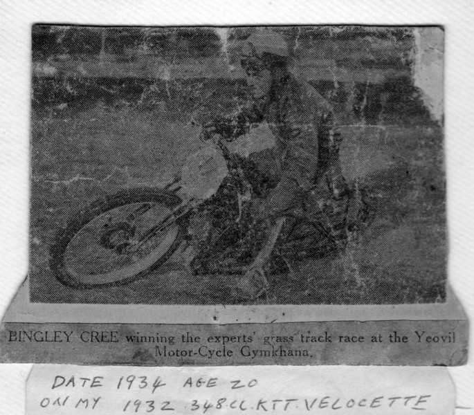 Newspaper article: Bingley (Cree) on 1934 Mark 4 KTT  348cc engine Vello, Grass Track in Blandford, Southern England