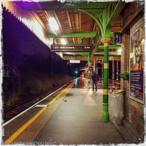 Waiting for the City Train (Southfields platform), May, 2014