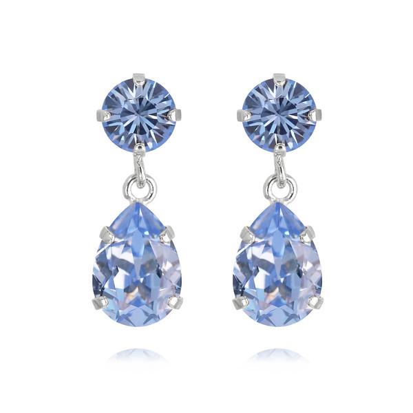 Mini Drop Earrings / Light Sapphire Rhodium