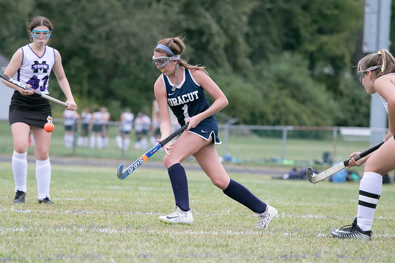 Dracut High School field hockey made its way to Fitchburg to play Montachusett Regional Vocational Technical School on Friday, September 6, 2019. DHS's Mia Pashoian. SENTINEL & ENTERPRISE/JOHN LOVE