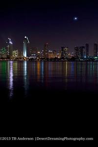 Moon over San Diego Cityscape
